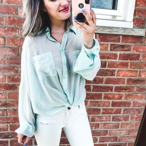 Victoria's Secret Sheer Green Button Down Shirt L